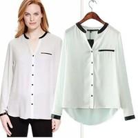 2014 New arrival Ladies' elegant faux leather spliced white blouses vintage V neck long sleeve shirt casual slim brand tops