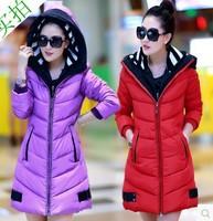 2014 New Fashion Women's Winter Down Jacket Coat Thicken Slim Casual Parka long Coat Plus Size Double Hood Free Shipping 5806