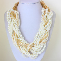 2014 Fashion Pearl twisted Necklaces for Women Hot Sell Short Braided Chain Statement Necklaces KK-SC693