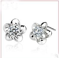 925 sterling silver plum flower plant earrings  #sky-11