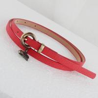 Free shipping 2014 new fashion women nubuck leather waist belt lovely love crown heart pendant lovely decoration thin strap belt