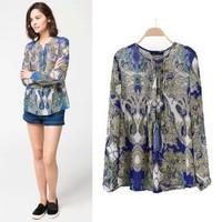 2014 New arrival Ladies' elegant blue print blouses vintage long sleeve office lady shirts casual slim chiffon blouse brand tops
