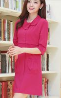 Fast/Free Shipping New 2014 Half Sleeve Pockets Slim Autumn Women Casual Dress Korean Fashion Female Dresses B8237