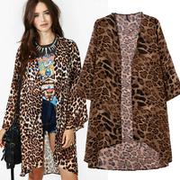 2014 New blusas femininas Spring&Fall European Kimono blouse Women girls OL Fashion Leopard Long thin cardigans coats TopsWC052