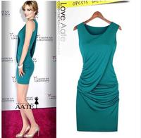 Stylish Draped Folds Flouning Turquoise Slim O-necklace Sleeveless Sheath Cotton Dress