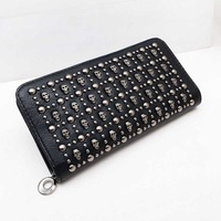 2014 Black Punk Rock Skull Heads Revits Women Wallets Fashion PU Leather Long Clutches Purse Female Zipper Vintage Money Clips
