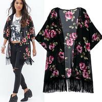 2014 New Spring&Fall European Blusas Women Blouse girl OL Fashion Flral Print Tassels Long Sexy slim Lace blouses cardigansWC053