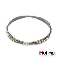 Popular Shiny Black Plated Arm Candy Punk Chunky Adjustable Bangle Statement Bracelets