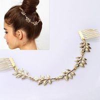 FS002 foreign trade manufacturer Europe crown Punk Fashionable joker aureate leaf comb hair combs