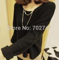 2014 Korean version of Hitz loose long-sleeved shirt big yards bat head knit sweater jacket shirt female