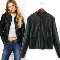 2014 New arrival Ladies' elegant PU leather Jacket coat zipper pockets long sleeve outerwear casual slim brand designer tops