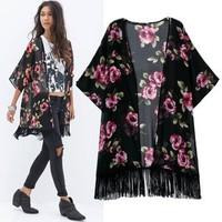 2014 New arrival Ladies' elegant stylish rose floral print tassel Kimono outwear loose vintage cape coat casual cardigan