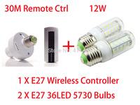 E27 Screw Wireless Remote Control Light Lamp Holder Cap Socket Switch + 2pcs E27 220V 230V 240V12W 5730 LED corn bulb lamp A512