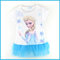 2014 New 2-8yrs Girls' Frozen Dress kid's 2014 cartoon summer dress girl's tutu girl's princess dress girl's lovable dress CF005