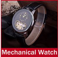2014 New Luxury Men Automatic Mechanical Watch Clock Fashion Skeleton Design Self Wind Analog Watches Casual Dress Wristwatch