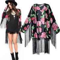 2014 Hot salling Spring&Fall European Blusas Women Blouses girls Print long Tassels Long Sexy blouse slim blouses cardigansWC054