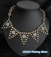 JC100 2014 Fashion Design Art Deco Triangle Pendant Pave Crystal Choker Necklace For Women SUPERNOVA No Min Order Free Shipping