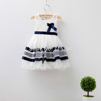 Elegant baby dress EMS DHL Free shipping Little girls summer layers tiers Tulle Party dress Flower Lace Princess Stripe Dress