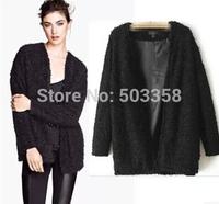 WC061 European New 2014 Free Shipping Winter Warm Women Coat Fashion Black Lambs Wool Casual Jacket Coat Loose Women Outerwear