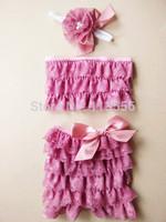 Lace Girl Swim Suit With Straps Bikini Rompers swimsuits baby Bikini Swimwear with shoulders&ribbon bow-24set/lot