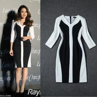 Free Shipping 2014 Stretch Cotton 3/4 Sleeve Black Patchwork White Slim Dress  140919XB02