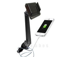 Universal Car Mount Holder With Dual USB solar charger power bank Lighter Socket Support for iPhone 6 plus for Samsung Galaxy S5