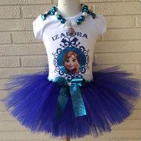New Arrival Girl's Frozen Blue Lace Bow Princess TUTU Dresses Kids Short Sleeve Cartoon Anna Elsa Party Dress+Necklace