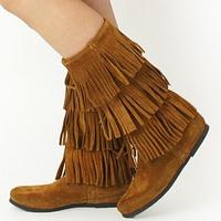 2014 Brand Designer Mid Calf Black Brown Genuine Nubuck Leather Winter Brand Suede 5 3 Layer Fringe Moccasin Boots For Women
