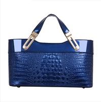 High Quality Women's Embossed crocodile pattern patent leather  Shoulder bags Women handbags Bolsas Women messenger bags Tote