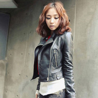 Women's Vintage Slim Biker Motorcycle Soft PU Leather Zipper Short Jacket