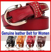 Guaranteed Genuine leather Women's Belts Cowhide belts Needle Buckle Rivet belt for women Casual fashion