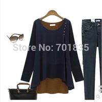 2014 hot fashion Women's long-sleeved winter T shirt Slim patchwork casual women t-shirt top tee M-5XL