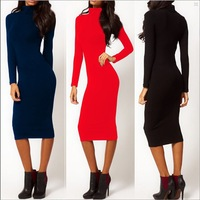 Women Dresses Bodycon Autumn Wholesale New Fashion Full Sleeve Mid-Calf Pencil Maxi Party Cocktail Dresses