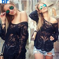 Blusas Femininas 2014 New Women Lace Shirt Blouses Long Sleeve Sheer Sexy Hollow Blusa Renda Shirts Plus Size Roupas Femininas
