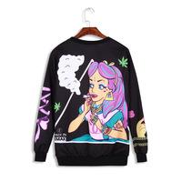 Harajuku Style Women Sweatsuits 2014 Snow White Cartoon Sweater Fleece Weed Sweatshirt Black/White