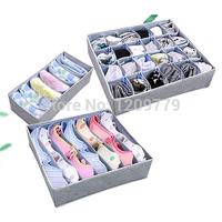 A5 Free shipping Folding Storage Box Bag With Cover for Bra Underwear Necktie Socks Three-piece IA836 P