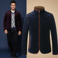 2014 autumn and winter high-end men's gold velvet collar thick cotton men's outdoor warm coat men down-jacket