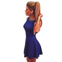 New Hot Sale Summer Dress 2014 Sexy Sleeveless Women Dress Blue Ruffles Casual Club Party Dresses Bandage Dress Free Shipping