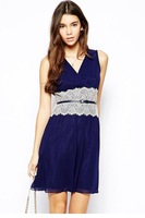 Petite V Front Skater Dress with Lace Cinch LC21634