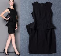 Free Shipping 2014 Stretch Cotton Sleeveless Ruffles Dress  140919DB01