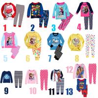 2014 kids cartoon clothing set/Princess Elsa & Anna printed children pajamas/Good quality cotton pajamas set