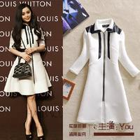 Free shipping new 2014 Autumn Hot sale one-piece dress medium-long patchwork PU slim elegant outerwear trench female