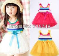 Promotion Kid Girls Rainbow Stripe Vest+White Tu-Tus Dresses(6 Layers of Gauze Tu Tus ) With Bow On Front 4 Colors