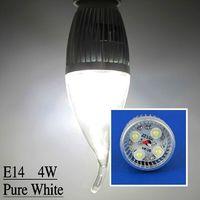 10 Pcs/lot Indoor Candle Bulb E14 4W Pure White LED Energy-saving lamps Bulb LEDQP073