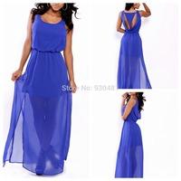 New fashion women chiffon long dress summer casual loose maxi beach dress blue elegant party wear lady sexy sleeveless dress
