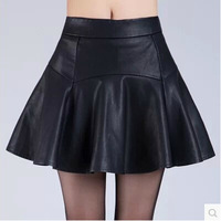 Fashion Joker Super Plus size PU Leather Skirt Female Zipper Up Waist Black Mini Skirts