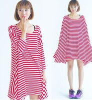 2014 Spring Maternal Large Stripe Dress For Pregnant women Black/Red O Neck Autumn long Sleeve A0207