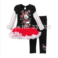 Big Promotion 2014 New Arrival Children Girl Suit Long Sleeve Cartoon Minnie Decor Patchwork Dress+ Black Pants Girl Set Autumn