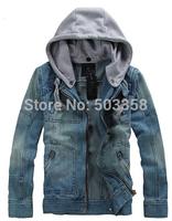 MC002 Autumn Zipper Slim Male Cowboy Jacket  Free Shipping 2014 New Fashion Casual Men Denim Jacket Fashion Hooded Men Jacket