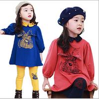 Retail Girls' Sets Long Sleeves Children Clothing Kids Warm Suit  Long dress+pants 2pcs/set 2 Colors  AB356